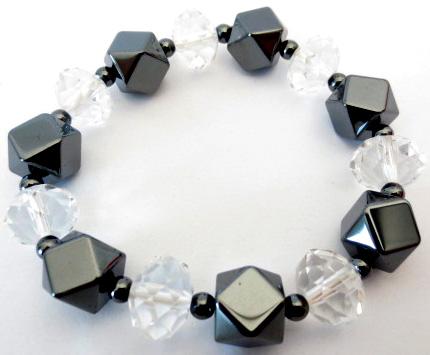 Bracelet faceté Hematite/Cristal