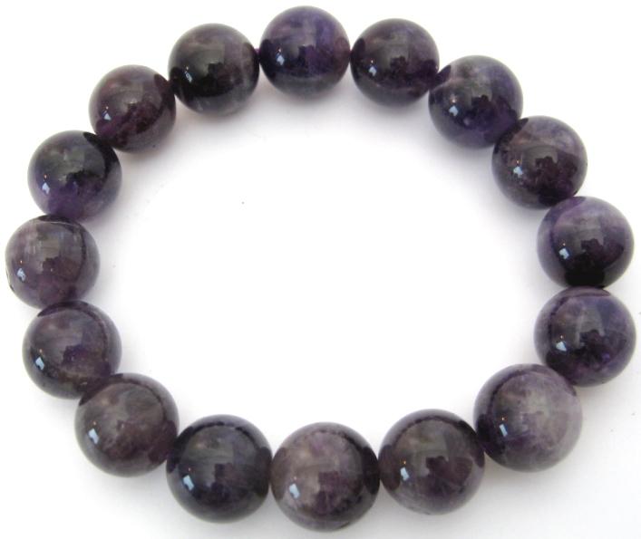 Bracelet Amethyste 'AA' perles 12mm