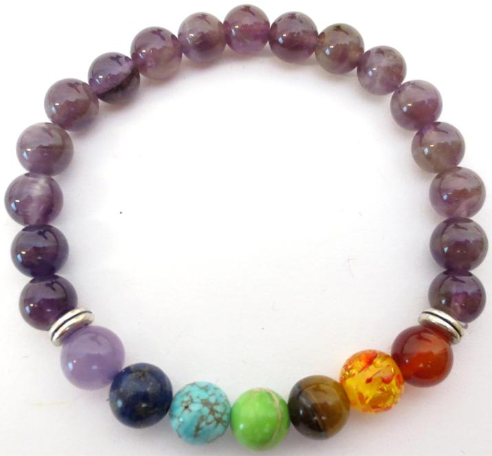 Bracelet Amethyste & 7 chakras perles 8mm