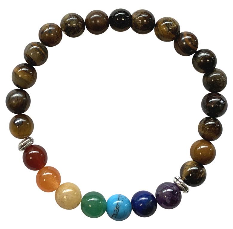 Bracelet Oeil de tigre & 7 chakras perles 8mm