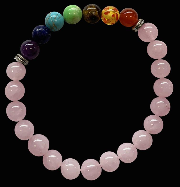 Bracelet quartz rose & 7 chakras perles 8mm