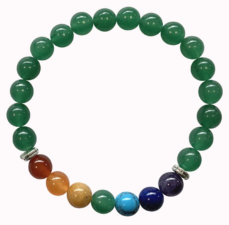 Bracelet Jade verte & 7 chakras perles 8mm