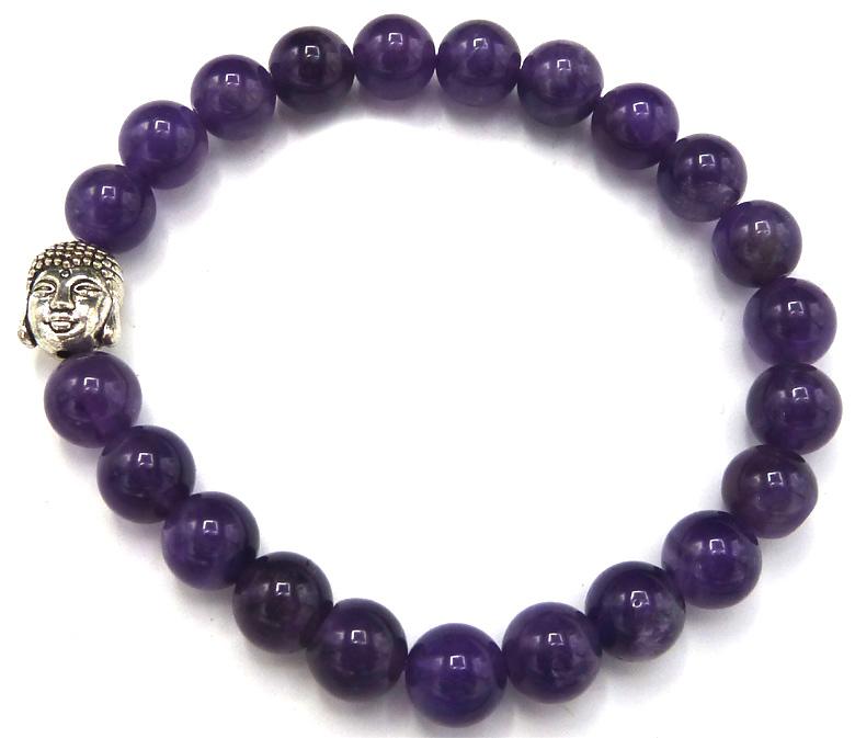 Bracelet Amethyste & Bouddha perles 8mm