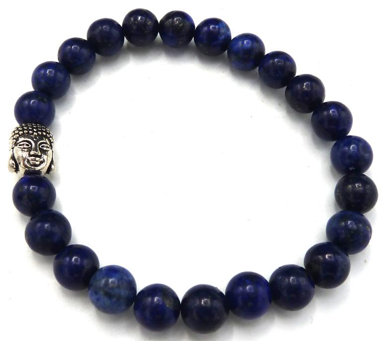 Bracelet Lapis Lazuli & bouddha  perles teintées 8mm