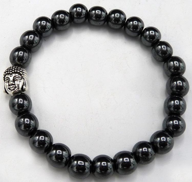 Bracelet Hematite & bouddha perles 8mm
