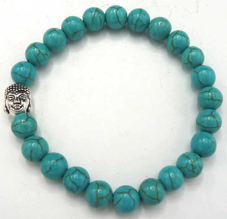 Bracelet turquoise & bouddha perles 8mm