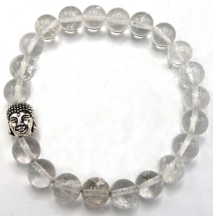 Bracelet cristal de roche & bouddha perles 8mm