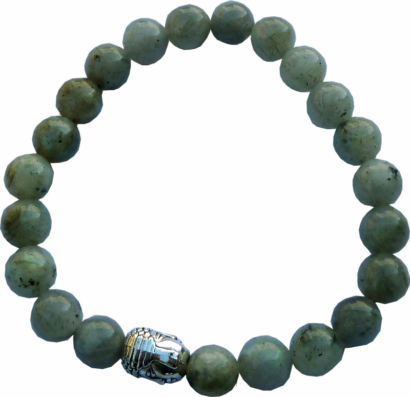 Bracelet Labradorite & Bouddha perles 8mm