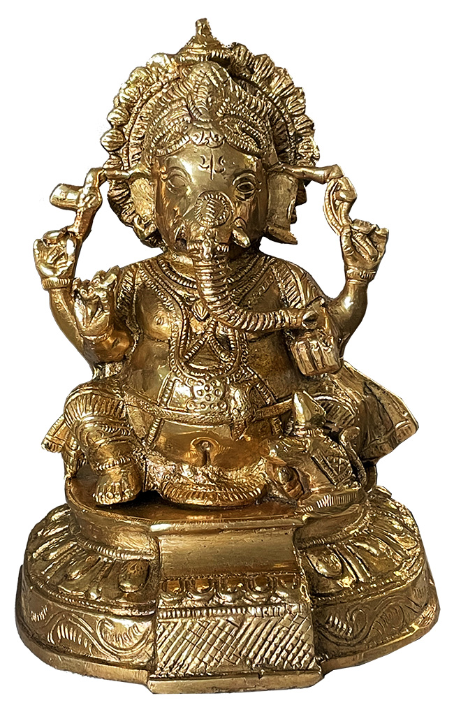 Ganesh hindou assis en bronze 19.5cm