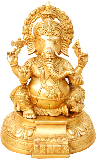 Ganesh hindou assis in bronzo 27 cm