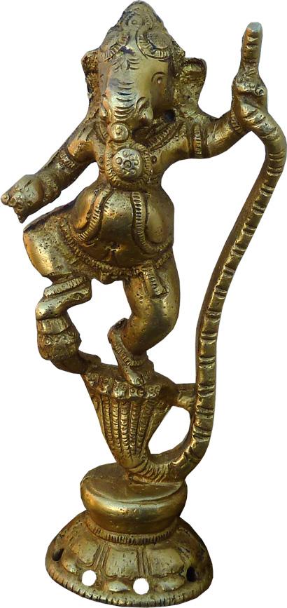 Ganesh dansant sur cobra bronze 13cm