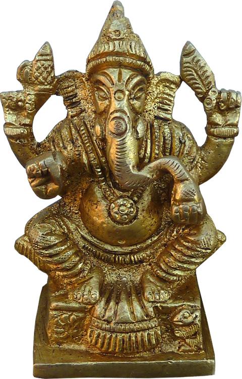 Ganesh assis bronze 7.50cm