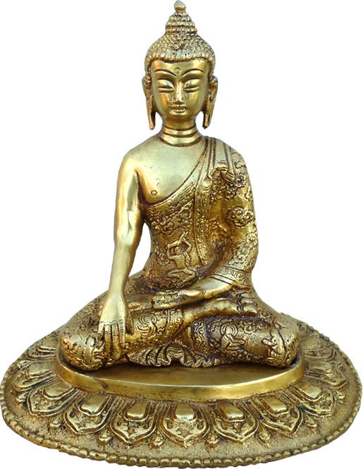 Statue bouddha méditation bronze 17cm