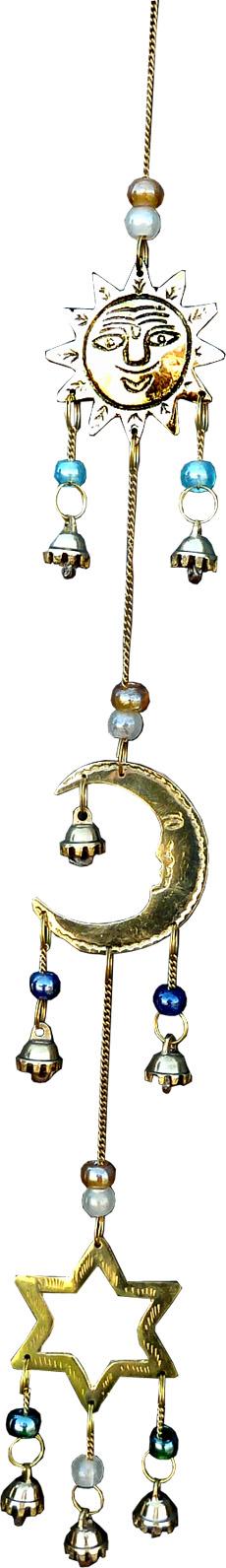 Mobile en bronze lune étoile et soleil perles & cloches 53cm