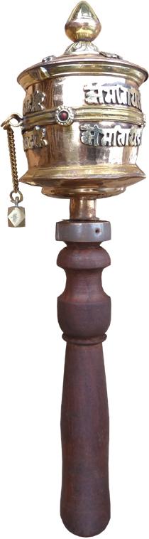Moulin a priere tibetain cuivre 30cm