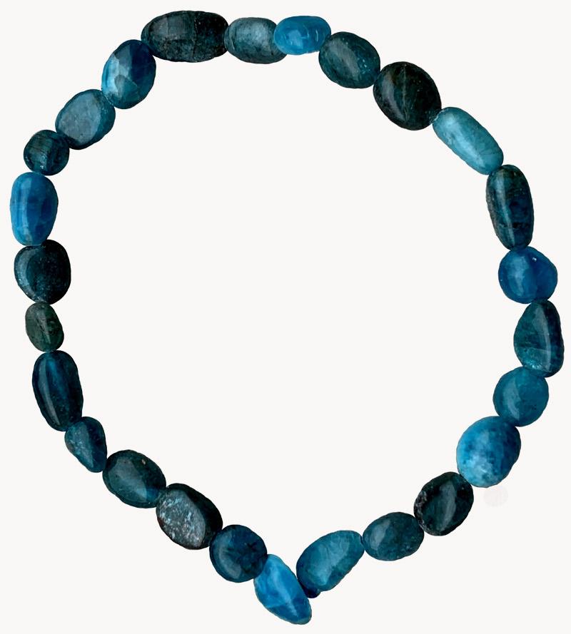 Bracelet Apatite Bleue pierres roulées