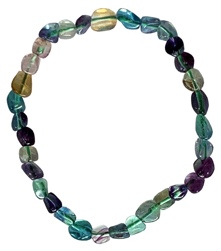 Bracelet Fluorite multicolore pierres roulées