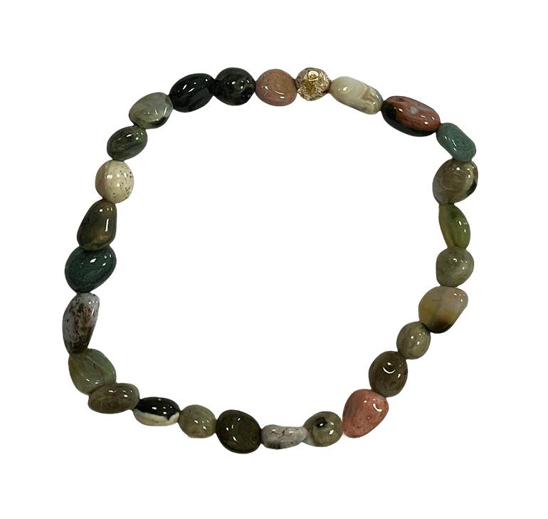 Bracelet Jaspe Océanique pierres roulées