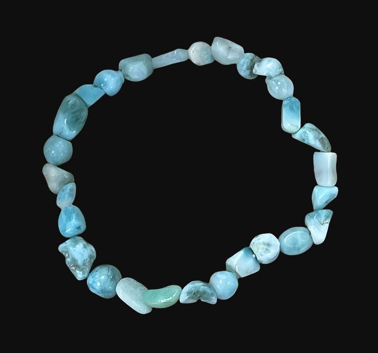 Bracelet Larimar AA pierres roulées