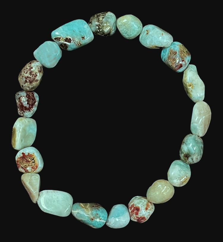 Bracelet Larimar pierres roulées