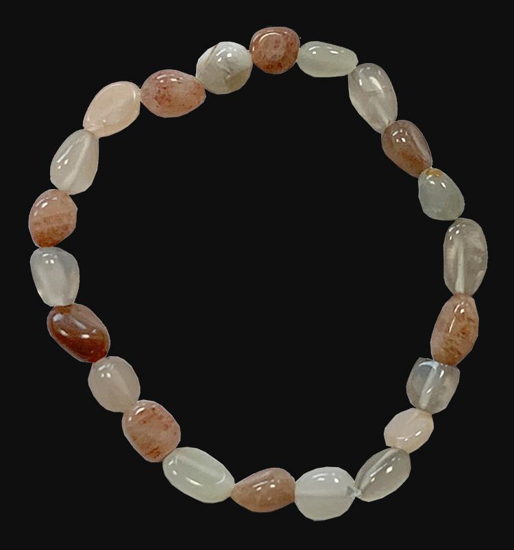 Bracelet Bracelet pierre de lune multicolore AA pierres roulées