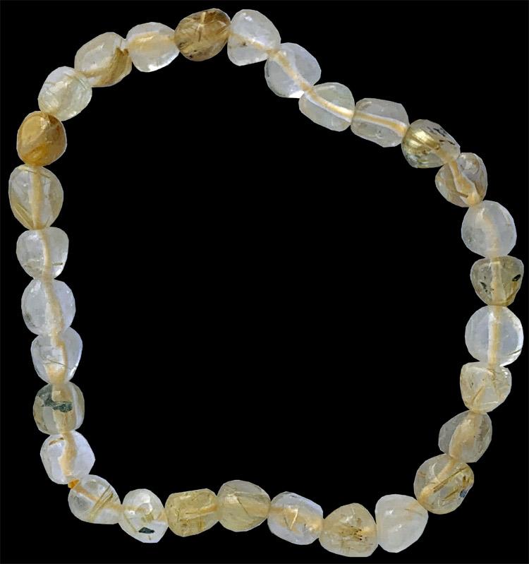 Bracelet Quartz Cristal de Roche Rutile pierres roulées