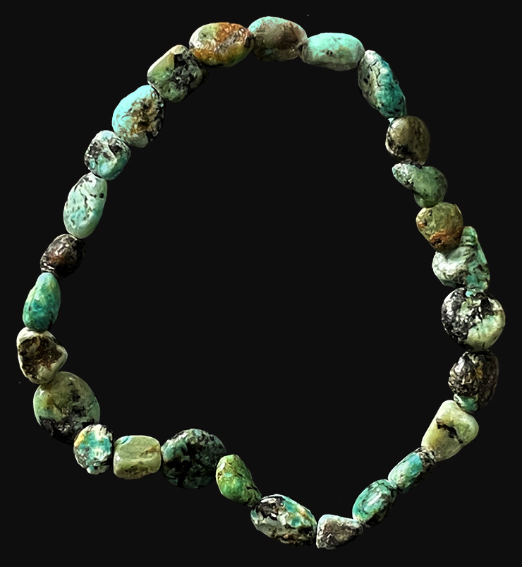 Bracelet turquoise naturelle d'Afrique pierres roulées