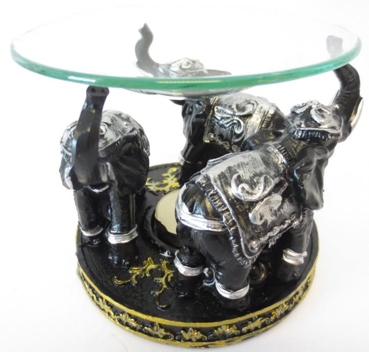 Bruleur 3 élephants noir & argent 12cm