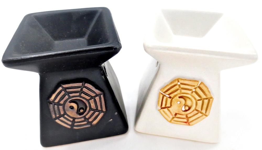 Set di 6 fuochi quadrati ying yang 8 cm