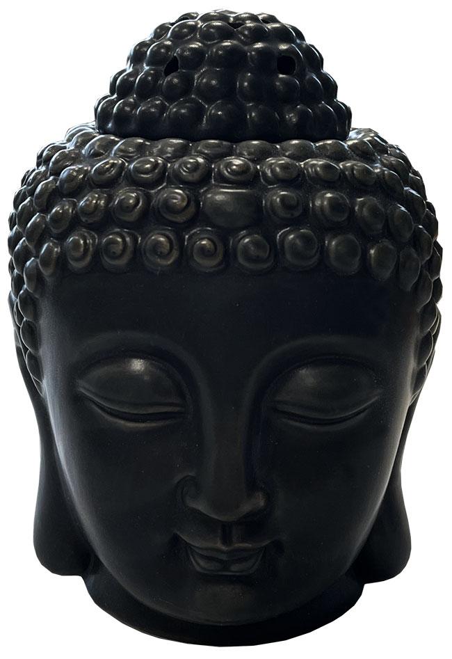 Black Buddha Head Ceramic Oil Burner 14cm