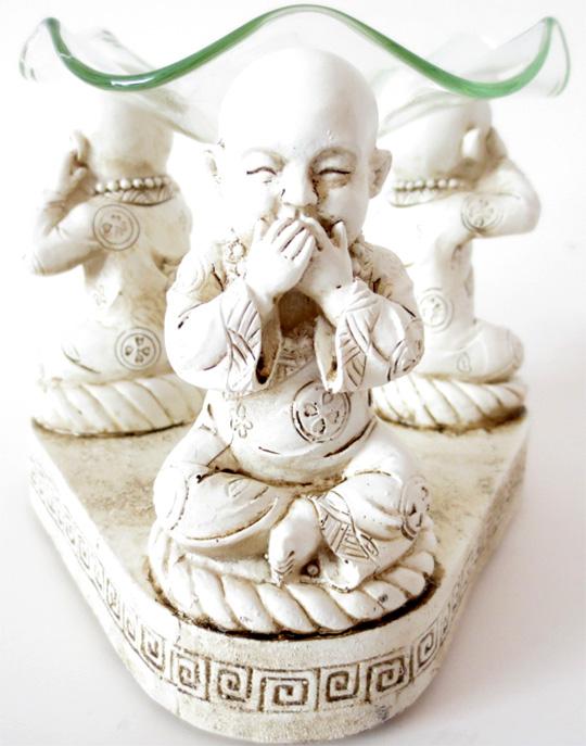 Bruleur blanc 3 moines de la sagesse 12cm