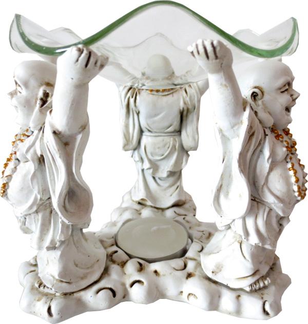 Bruleur blanc 3 happy bouddha 12cm