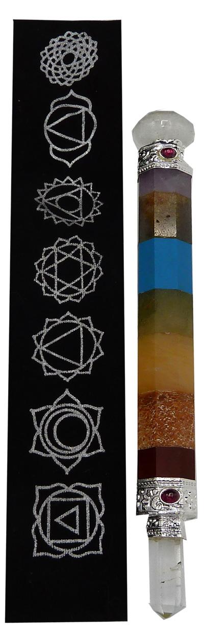 Bâton de soin pierres chakra & pochette imprimée