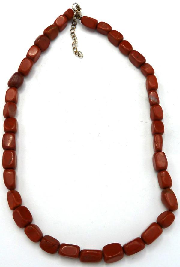 Collier pierres roulées jaspe rouge 42cm