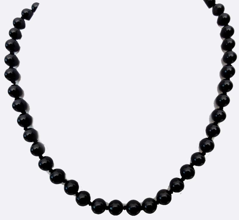 Collier onyx noir perles 8mm
