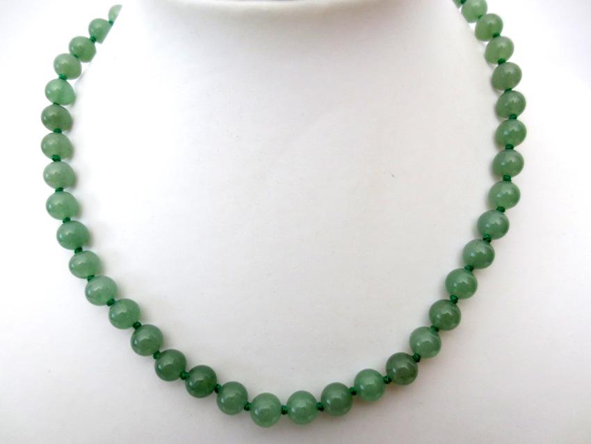 Collier Jade verte perles 8mm