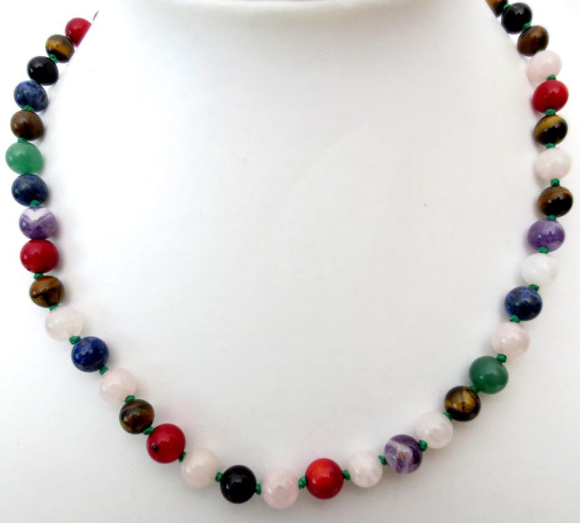 Collier multicolore perles 8mm