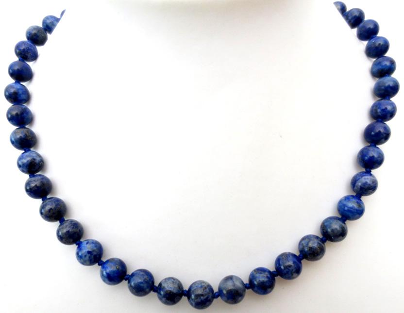 Collier Lapis Lazuli perles teintées 8mm