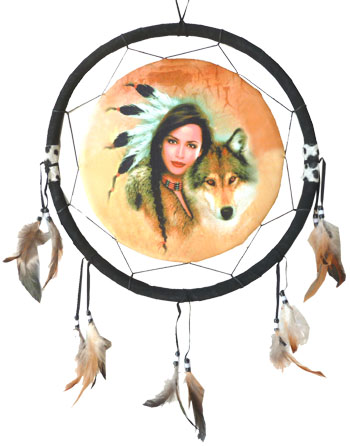 Dreamcatcher indienne & loup 40cm