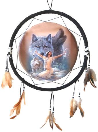 Dreamcatcher indiènne méditation & loups 40cm