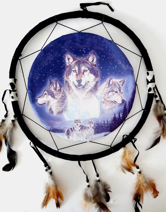 Dreamcatcher 3 loups 40cm