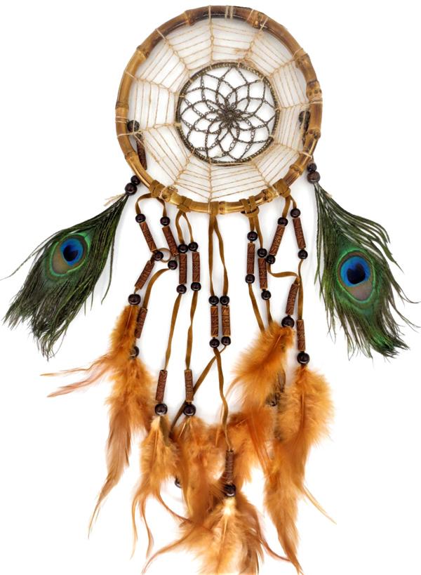 Dream catcher bamboo turquoise et plumes de paon 17cm