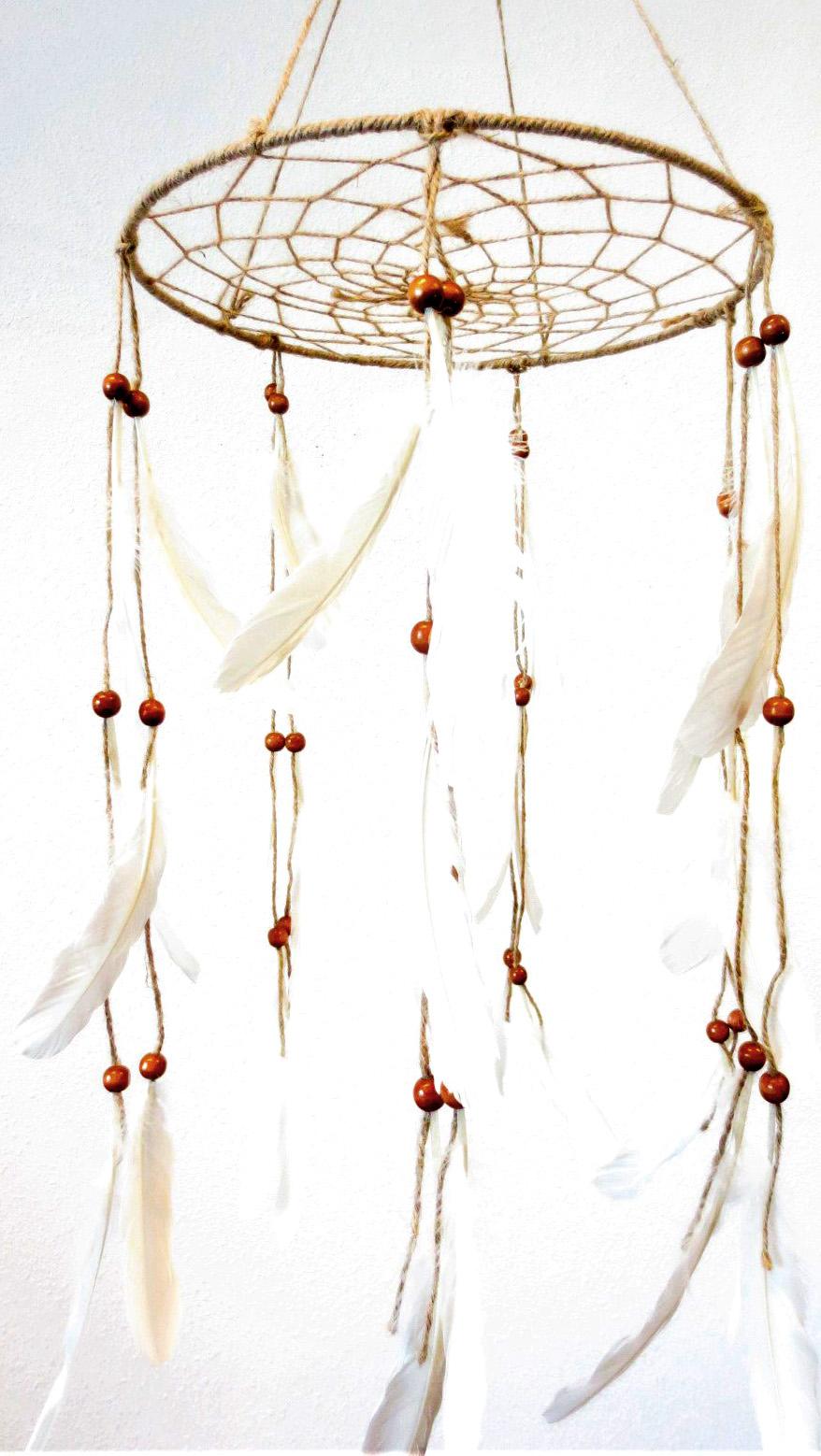 Dream catcher plumes & perles bois 33cm