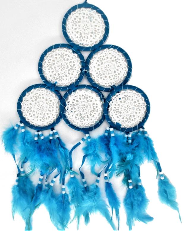 Dream catcher pyramide tissu brodé bleu 15cm
