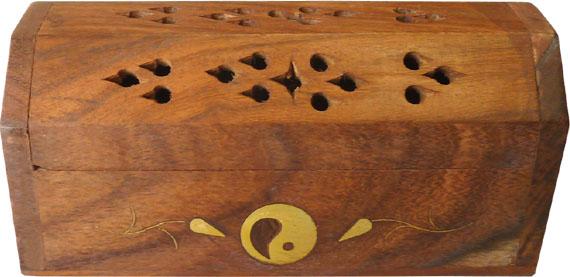 Porte encens cones en bois coffre ying yang 13cm