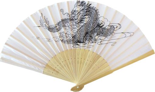 Eventail thai dragon blanc 20x40cm