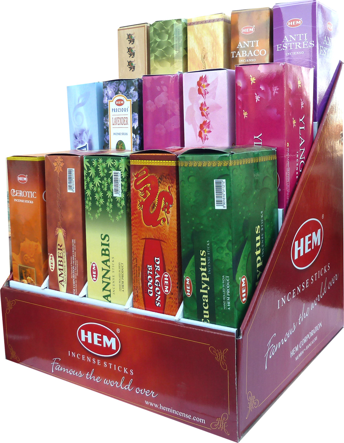 Presentoir encens hem hexa 15 parfums