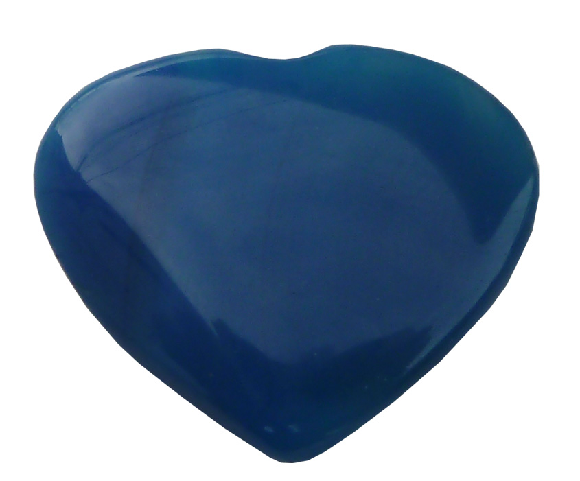 Coeur en Calcédoine bleue \'B\' 4cm