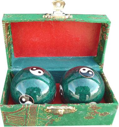 Boules de massage verte ying yang 3.5cm