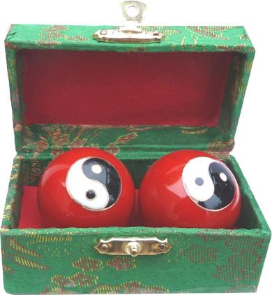 Boules de massage ying yang rouge 4.5cm